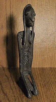 Dogon Bronze Seated Female Figure Mali African Fertility Art 7""