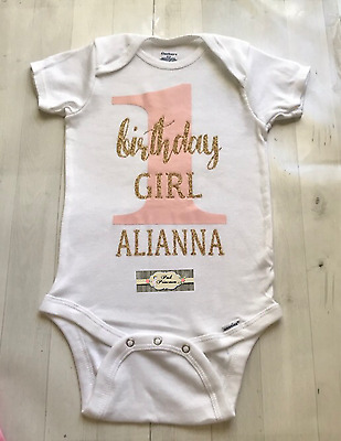 Baby Girl Personalized Pink & Gold Glitter Gerber Onesie Only 1st Birthday Smash