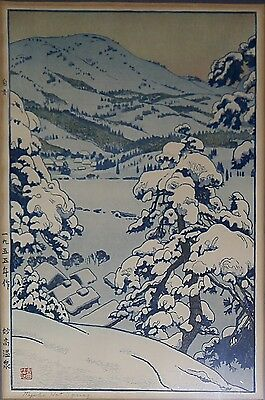 Original Pencil Signed TOSHI YOSHIDA Japanese Woodblock Print Myoko Hot Springs