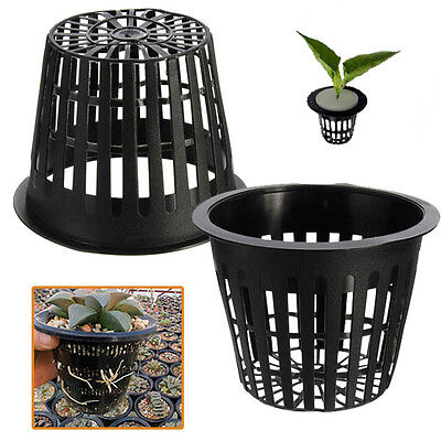 10Pcs Black Plastic Hydroponic Planting Mesh Net Pot Baskets