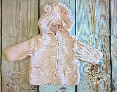 Baby Gap Girls 0-3 Months Pink Bear Button Cotton Sweater