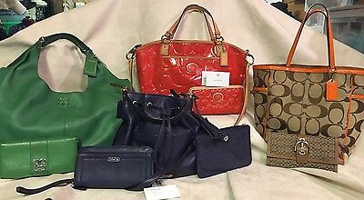 Lot of 10 Coach items Purses, Tote Bag, Hobo, 4 sets w clutch size wallets, coin