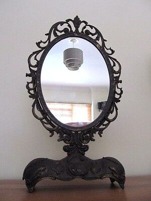 A Lovely  Vintage Italian Solid Brass Ornate Dressing Table ,vanity Mirror
