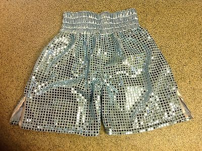 pale blue circle sequin boxing shorts 26 inch waist
