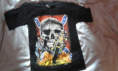 Vintage black T-shirt with skull and motorbike print, age 12/14