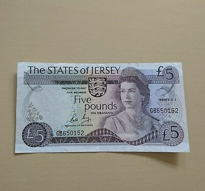 STATES of JERSEY £5 BANKNOTE 1976 in VG/Ef condition