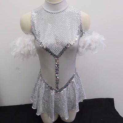 Dance Costume Medium Adult Silver Dress Jazz Contemporary Solo Competition