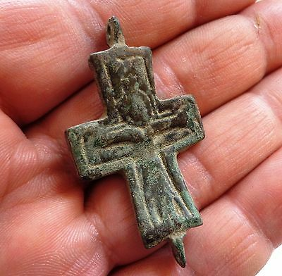 Byzantine bronze reliquary cross (half).Christ with arms outstretched.8-12th C