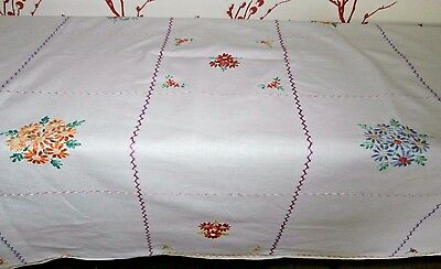 "VINTAGE WHITE COTTON with HAND WORKED FLORAL EMBROIDERY TABLECLOTH ~ 43"" x 47"""