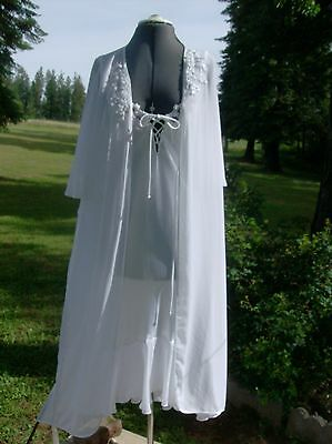 Vintage Dentelle, S, glacier white sheer robe and satin nightgown with lace