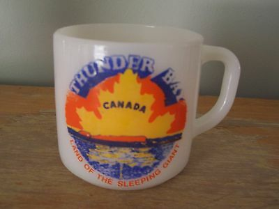 Vintage Federal Milk Glass Coffee Mug - Thunder Bay - Land Of The Sleeping Giant