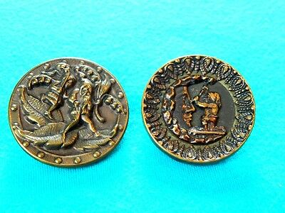 P9.   2  Antique Victorian Picture  Buttons Of Gnomes