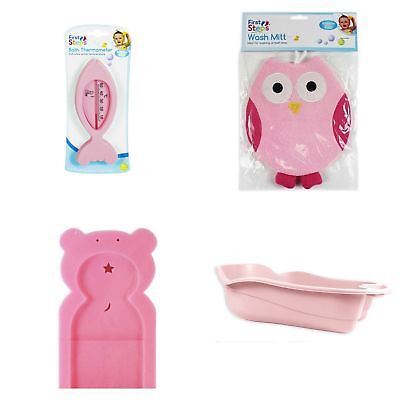 Pink Baby Newborn Bath Bathtime Support Wash Mitt Thermometer 4 Piece Set