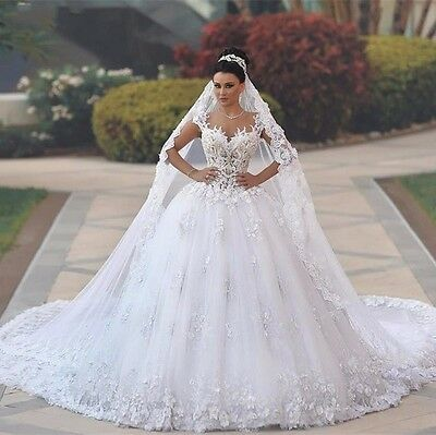 2017 Backless Lace Bridal Gown White Ivory Wedding Dress Custom Made 2-28