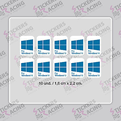 10 x WINDOWS 10 PRO  FOR PC LAPTOP AZUL CYAN STICKER LOGO DECAL BADGE ADHESIVO