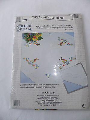 ~ French Damask Table Topper  Embroidery  Kit ~  Rabbits ~