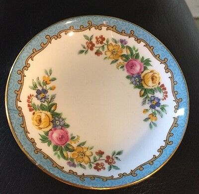 Vintage Crown Staffordshire Blue Tunis Individual Butter Plate