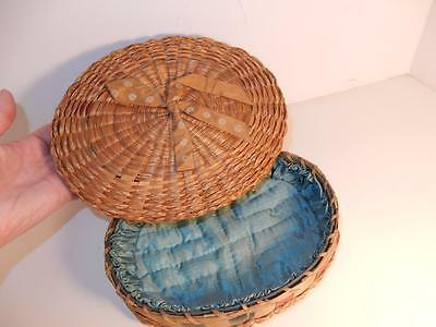 Antique Victorian Sewing Box Basket Silk Lined For Needles And Spools