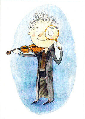 SHERLOCK HOLMES WITH MAGNIFYING GLASS AND VIOLIN Very Rare Modern card