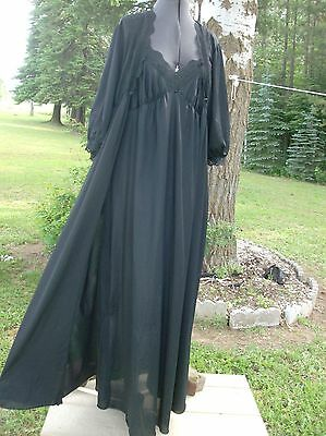Vintage Chanin, L. black long robe and gown with lace