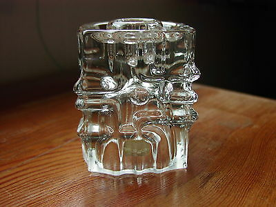 Retro Rosice Czech/Bohemian Art Glass Small Clear Candle Holder By Urban