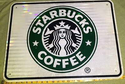 "RARE STARBUCKS REFLECTED REAL ROAD SIGN 18""x 24"" Pre-Owned,Great Condition!"