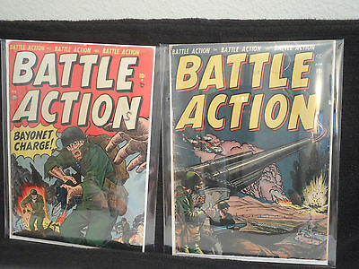 Battle Action 1 And 2 Comic Book Lot Marvel Atlas Pre Code War 1952