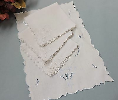 Vintage cocktail napkins and Madeira centerpiece cutwork & embroidery
