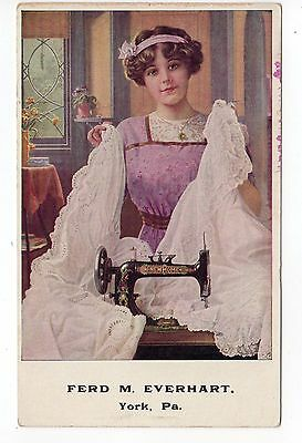 NEW HOME SEWING MACHINE Trade Card. Woman in home, lacy material, machine. PA
