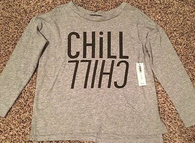 NWT Old Navy Girl's Long Sleeve Graphic Tee, Gray, Size XS(5)