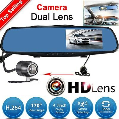 4.3'' HD 1080P Dual Lens Car DVR Video Recorder Rear View Dash Camera G-sensor
