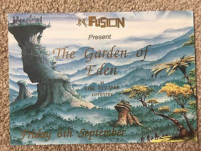 Fusion Promotions The Garden Of Eden At The Eclipse 1991 Rave Flyers Flyer