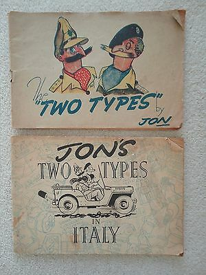 Militaria Wartime Art Artists Jon'S Two Types Cartoon Humour Ww2 Pair