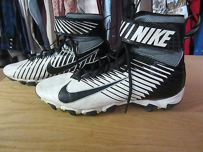 Nike Strike Shark Mens Football Cleat sz 12 black white 841657-100 used Vgood