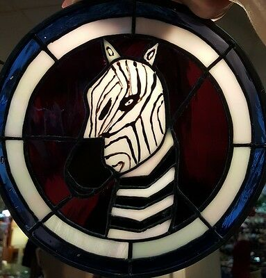 Georgous Round zebra Stain Glass Hanging ready to hang! 9.5inches