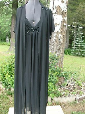 Vintage Belle Nuit, XL, sheer black NWT robe and nightgown