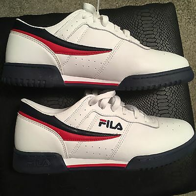 "FILA ""Original Fitness"" Sneakers (White/Navy/Red) Men's Athletic Retro Shoes"