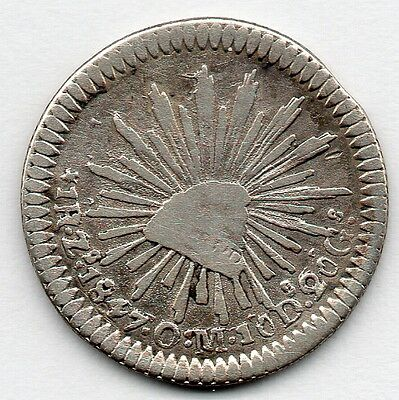 Mexico 1 Real 1847 ZsOM (91.7% Silver) Coin
