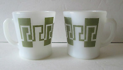2 Vintage Fire King Mug  Greek Key In Light Olive Green D Handle Mugs
