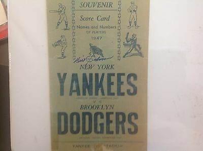 1947 Yankees World Series Scorecard vs Dodgers- autographed by Bill Johnson, NYY