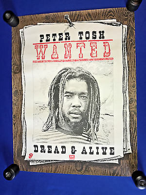 vintage'81 Peter Tosh Wanted Dread or Alive LP PROMO POSTER Rolling Stones 20x26