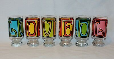 Vintage LOVE Glass Tumblers - Retro 1960's - Lot of 6