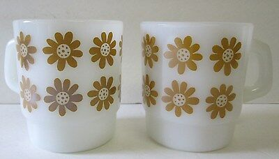 2 Vintage Fire King Daisyhead In Yellow Ochre Mugs