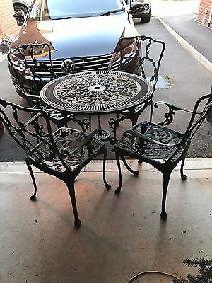 Cast Aluminium Garden Table And 4 Carver Type Chairs