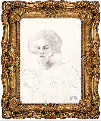 Gustav Klimt- A 1898 Signed Original Drawing For Painting Of A Female, No Print
