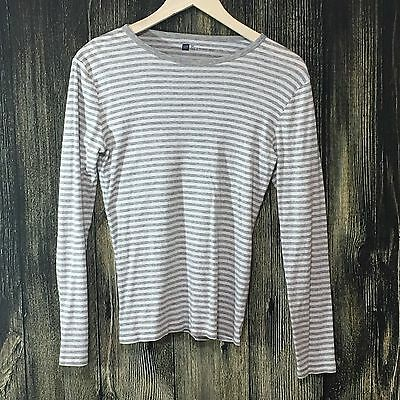 Gap Womens Casual Scoop Neck  Long Sleeve Gray/White Striped Shirt - Size M