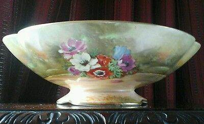 Vintage Rare Royal Winton Hand Painted Bowl Signed Zkas 1930's Style