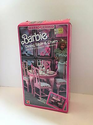Vintage Barbie Sweet Roses Dining Table And Chairs 1987 Mattel Box Instructions