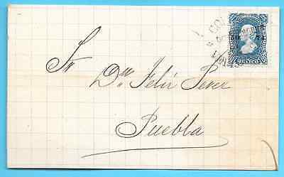 Mexico cover - 1874-77 Vera Cruz postmark - Coalegreteran dateline