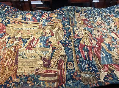 Antique Aubousson Medieval Tapestry Wall Hanging Winemaking Scene